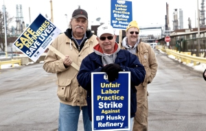 Workers on the picket line at BP Husky refinery outside Toledo