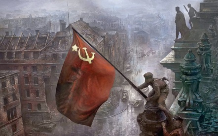 Soldiers raising the Soviet flag over the Reichstag, Berlin 1945 2