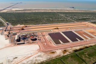 Vista aérea do terminal offshore T1