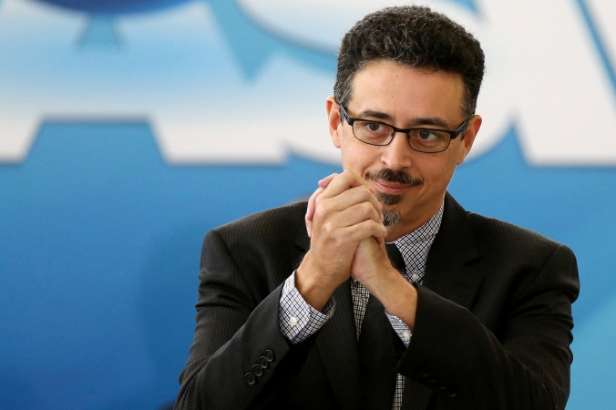 Sa Leitao, the new Minister of Culture gestures during his inauguration ceremony, at the Planalto Palace, in Brasilia