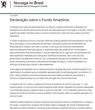 declaração noruega fundo amazonia