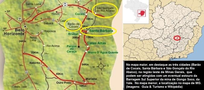 Mapa de Barragem que pode estourar_Regiao central de MG-24-03-2019