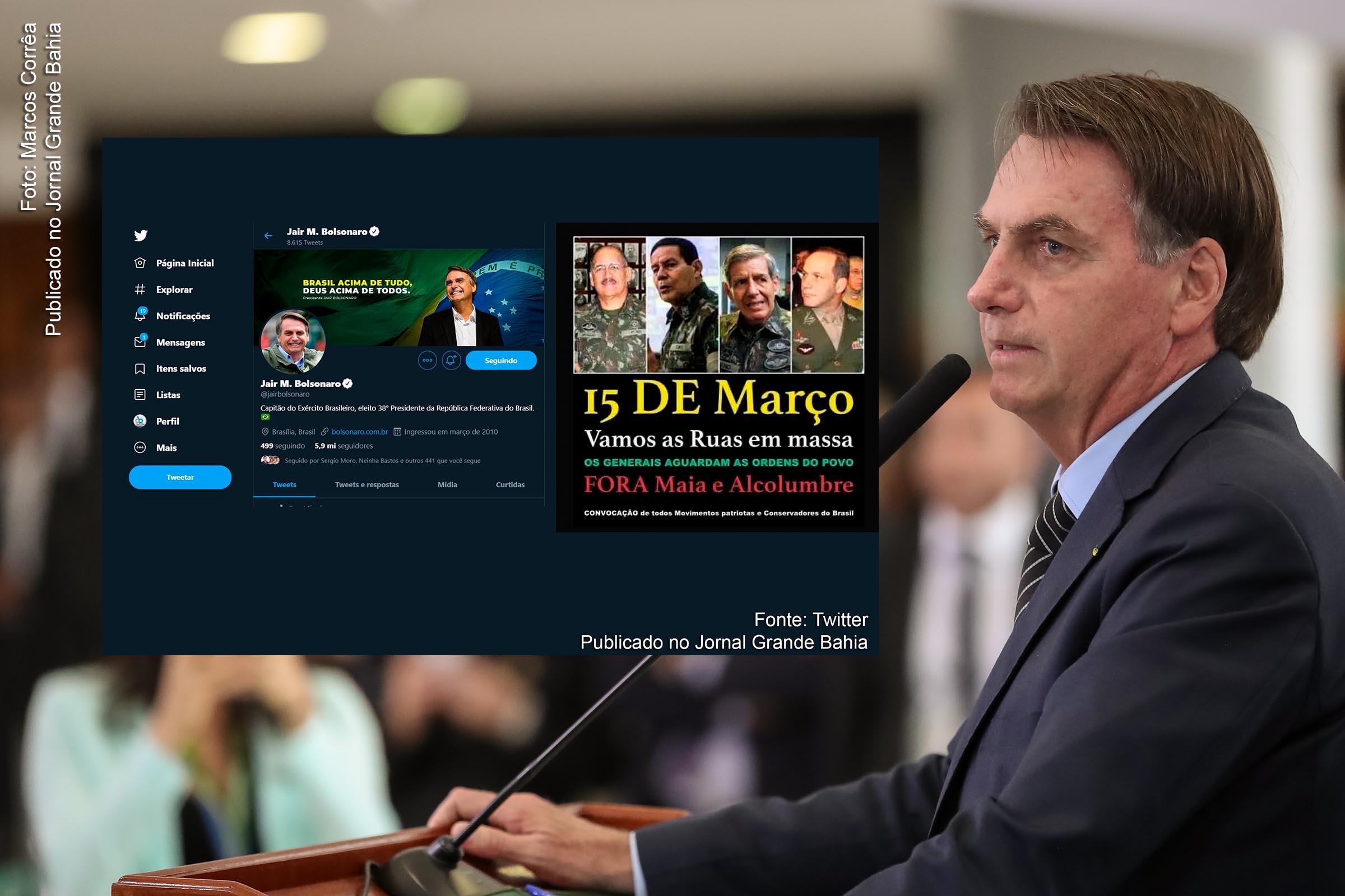 Extremista de direita Jair Bolsonaro age contra o equilíbrio in