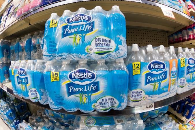 Nestle bottled water in store shelf.   Ontario premier wants