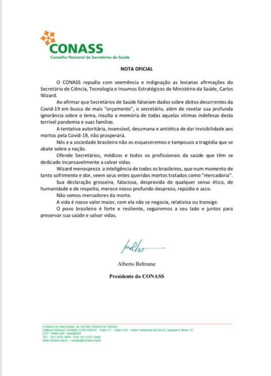 nota oficial Conselho Nacional dos Secretários de Saúde