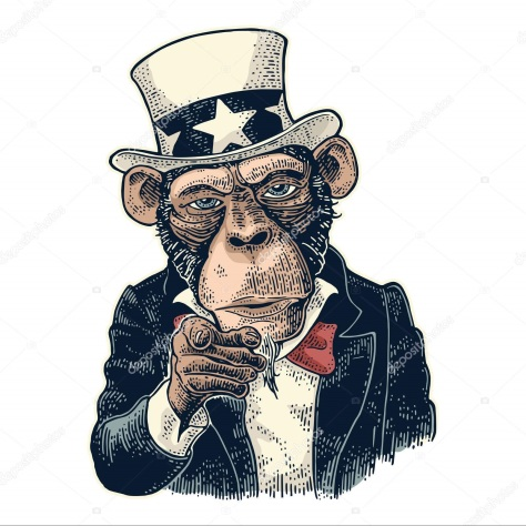 Monkey Uncle Sam with pointing finger at viewer. Vintage engraving